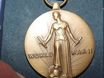 WWII Freedom Victory Medal and Ribbon In Original Box by J. R. Wood - Militaria
