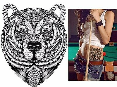 Tribal Black Bear Tattoo Temporary Stickers Body Art 3D  Waterproof  Arm Tattoo