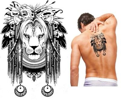 Lion Feathers Tribal  BlackTemporaryTattoo Stickers Body Art 3D Waterproof Arm