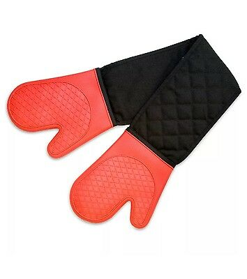 NEW Cuisena Silicone & Cotton Double Oven Glove Red