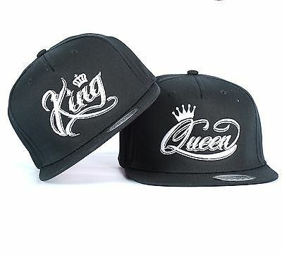 KING and QUEEN CROWN WHITE SNAPBACK PAIR FASHION EMBROIDERED RAPPER CAPS HATS