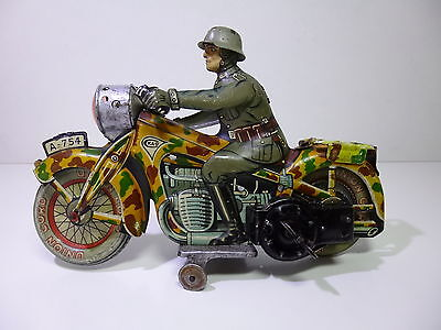 Very Rare Pre-War CKAO # 754 MILITARY MOTORCYCLE with German soldier !!
