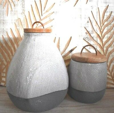 NEW Modern Textured Ceramic Set of 2 Grey Canisters/Vase with timber lid