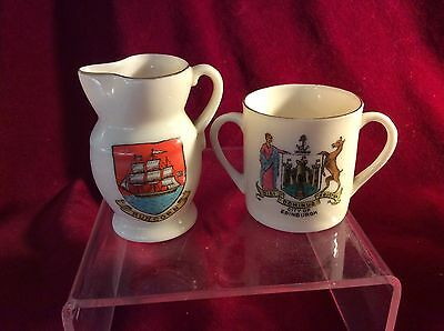 Perfect. Crested China W.h.goss, Runcorn Jug With Ship And Edinburgh Loving Cup.