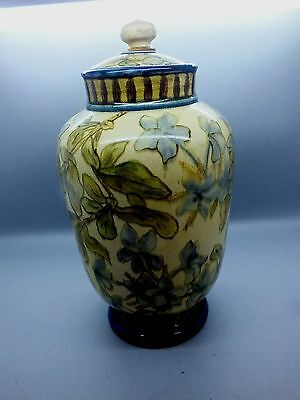 Doulton Faience Eathenware Lidded Vase by Matilda Adams, Signed & Dated 1875
