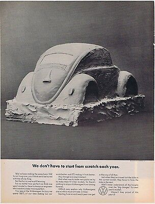 1969 VW Beetle Volkswagen Start From Scratch Vintage Print Car Ad Free Shipping