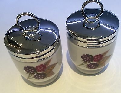 """Royal Worcester Egg Coddlers - Plum and Berry Pattern 3.1/2"""" high 'Perfect'"""