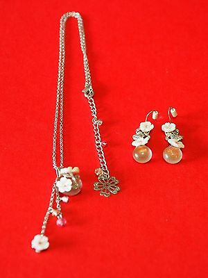 DELICATE Cherry Blossom Mother of Pearl & Pink Glass Pendant & Earring Set