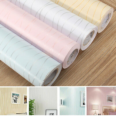Modern Stripe Paper Wallpaper Roll Self Adhesive Stick Wall Covering Background