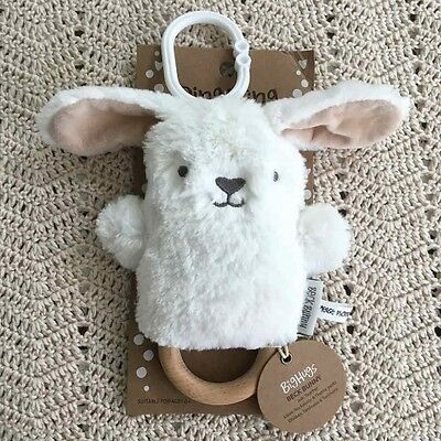 O.B Designs Dingaring Beck Bunny (White) - Baby Wooden Teething Rattle Toy OB