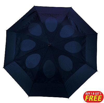 Navy Blue Vented Windproof Umbrella 1+1 Free Brolly (For Rain, Downpours)
