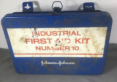 Vintage Industrial Johnson & Johnson First Aid Kit Metal Box  Wall Mount Metal