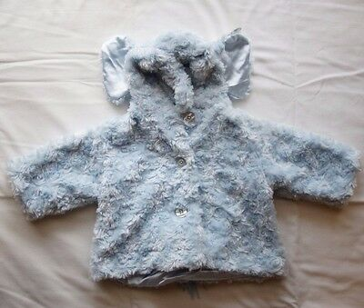 Ouch Unisex Boy Girl Bearington Baby Blue Coat Elephant Hood - Size 6-12mth NEW