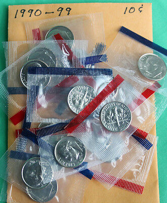 1990 to 1999 BU Roosevelt Dime 20 P & D Coins From US Mint Set Cello Wrapped Lot