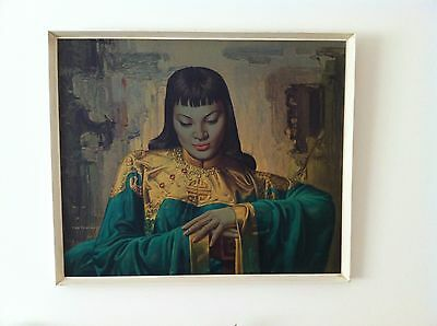 Lady From Orient by Vladimir Tretchikoff Print with original boots frame