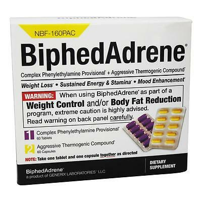 NEW Generix BiphedAdrene Covaxil Capsules 120ct Weight-Loss Burn Fat Energy