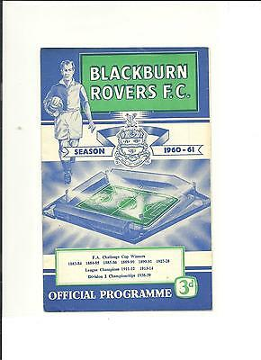 1960/61 FA Cup  3rd round replay Blackburn Rovers v Chesterfield