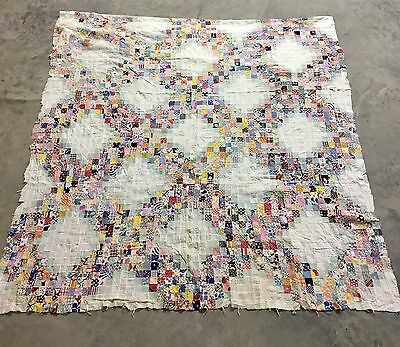 Unfinished Vintage 30's Irish Chain Postage Stamp Antique Quilt Top Small Pieces
