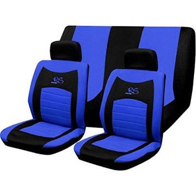 Black & Blue Rs Racing Sports Style Car Seat Covers Set Universal Fit Protectors