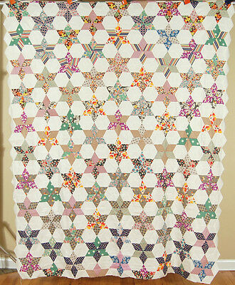 WELL PIECED 30's Touching Stars Antique Quilt Top ~BEAUTIFUL VINTAGE FABRICS!