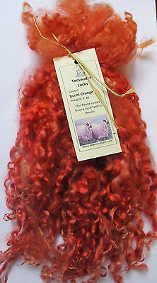 Teeswater Locks in Burnt Orange for Doll Making and Spinning 1 oz (28.4g)