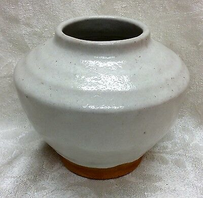 Ben Owen, Chinese White, Rare 2-line Stamp Vase, N. C. Art Pottery