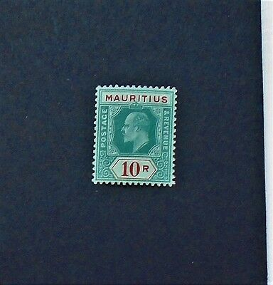 EDVII 1910 MAURITIUS SG195 10R GREEN & RED/YELLOW  almost MNH CAT £170 - SUPERB!