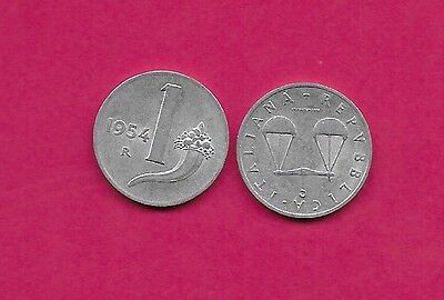 Italy Rep 1 Lire 1954R Xf Balance Scales,cornucopia,value And Date