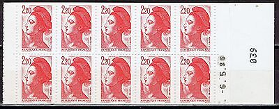 France - 1986-87 SG DSB94, 2f20 Sabine, pane of 10, red & white cover (MNH)