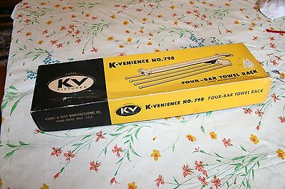 Vintage  K Venience 4 bar sliding towel rack, chrome mid century 1960s  #798 NIB