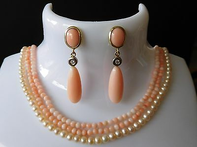 Engelshaut Korallen Ohrringe,Diamanten,Gold 585 / 14k,angelskin coral earrings