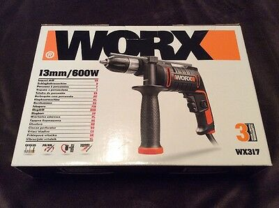 Worx WX317 Corded Impact Drill, 600W Brand New, Sealed