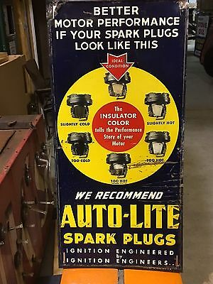 ORIGINAL VinTaGe AUTO-LITE SPARK PLUG Sign Metal Embossed Gas & Oil FORD Car OLD