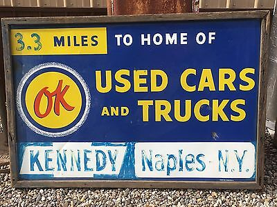 ORIGINAL VintagE CHEVROLET Sign OK Used CARS & TRUCKS Wood Framed Chevy RARE OLD
