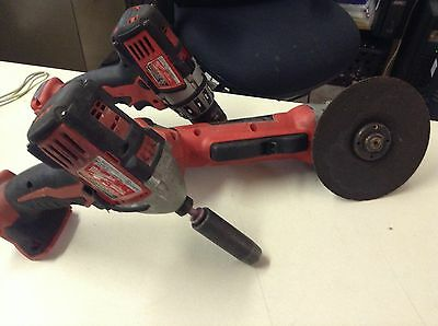 Used Milwaukee 18v Cordless Tool Set Hammer Drill; Impact Driver; Angle Grinder