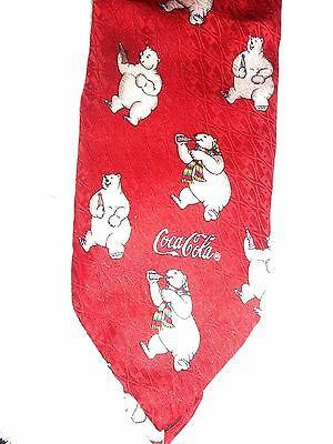 Vintage Coca Cola Drinking Polar Bear Necktie Red With White Bears 100% Silk NEW