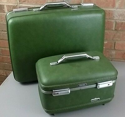 Vintage American Tourister Green Tiara Luggage Train Suit Case & Overnight Lot