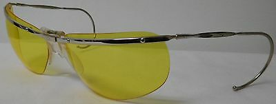 Renauld Of France Aviator Wrap Around Bubble Sunglasses Silver W/ Yellow Lenses