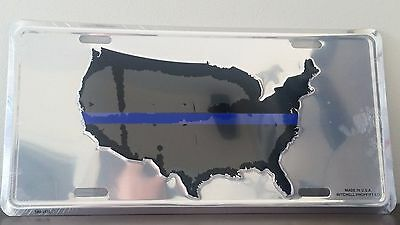 United States of America Map Blue Stripe (Police) on Grey Embossed Metal License