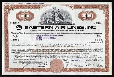 1977 Eastern Air Lines, Inc. - $1000 Bond Certificate