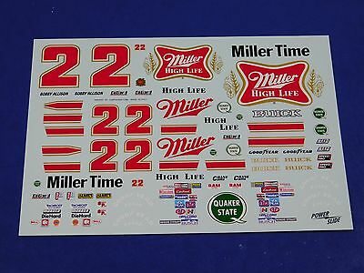 Bobby Allison #22 1983-84 Miller American Buick 1/24 Powerslide Model Car Decals
