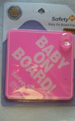 Safety 1st Baby On Board Sign Pink New Free Shipping