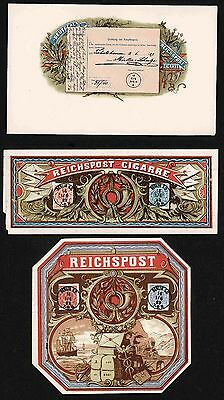 REICHSPOST~   Cigar Box Tobacco Label -    LOT of 3 Labels