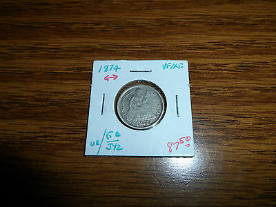 1874 10C Arrows Liberty Seated Dime Very Fine/Extra Fine