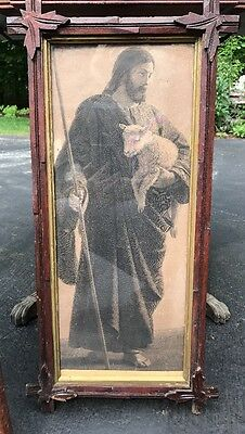 Antique Wood Framed Black & White Picture Of Jesus Holding A Lamb 25 X 12.5""