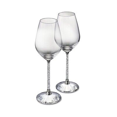 New Pair of Wine Glasses with Swarovski Crystal Filled Stem Goblets Wedding