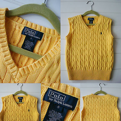 Boy size 6 Ralph Lauren RL POLO yellow cable knit cotton vest sewn pony yellow