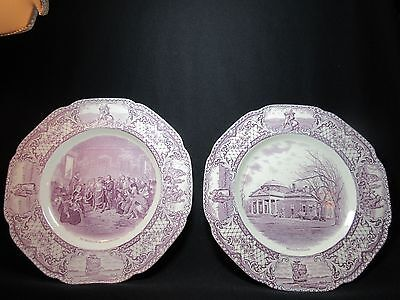 Crown Ducal China 2 Round Dinner Plates Colonial Times Mulberry Made in England