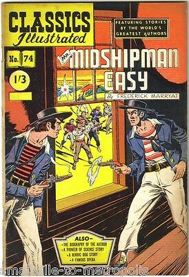 Classics Illustrated #74  Mr MIDSHIPMAN EASY F Marryat. Rare UK issue 1/3d 1950s