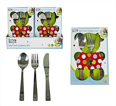 """First Steps """"My First Cutlery Set"""" including Knife, Fork & Spoon in Stainless"""